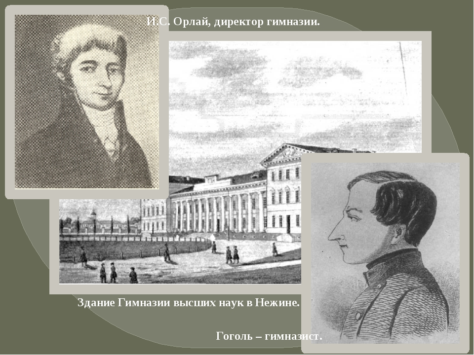 Гоголь – гимназист. Здание Гимназии высших наук в Нежине. И.С. Орлай, директо...