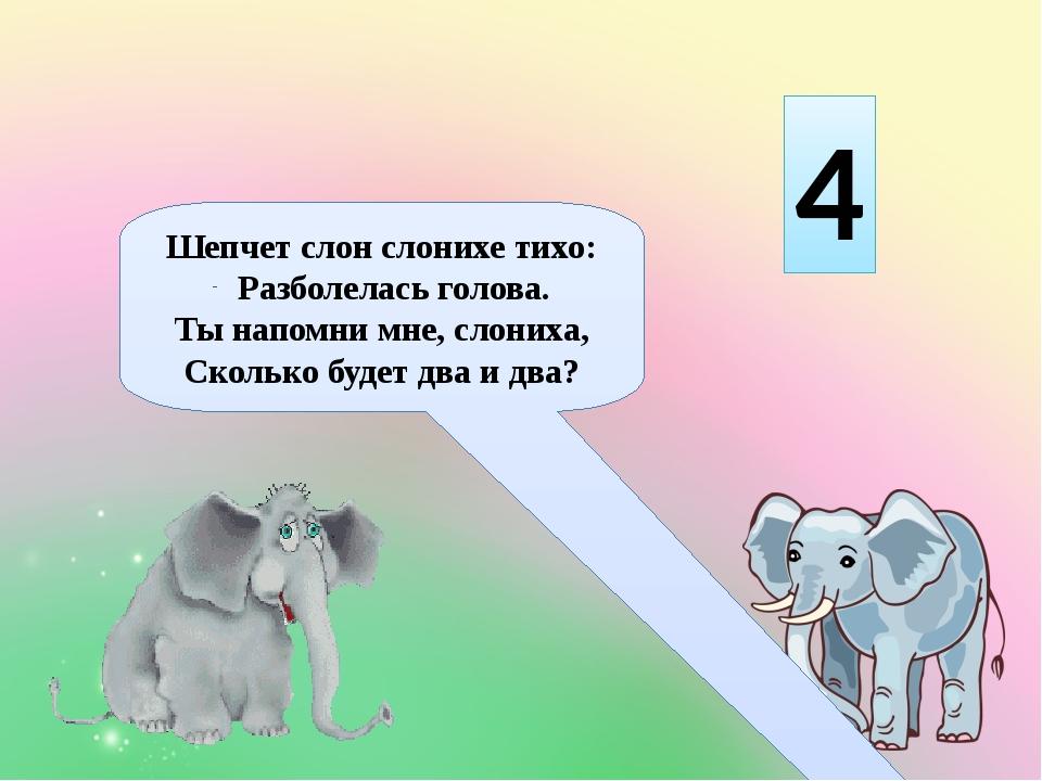 Шепчет слон слонихе тихо: Разболелась голова. Ты напомни мне, слониха, Скольк...