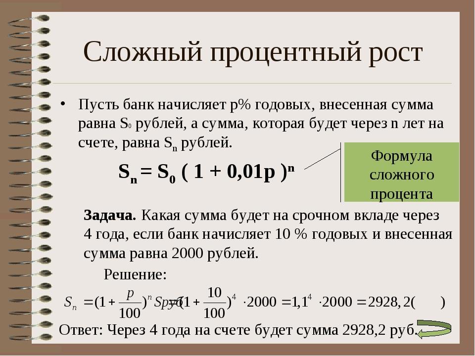 Задача на сложные процент с решением решение планиметрических задач из егэ