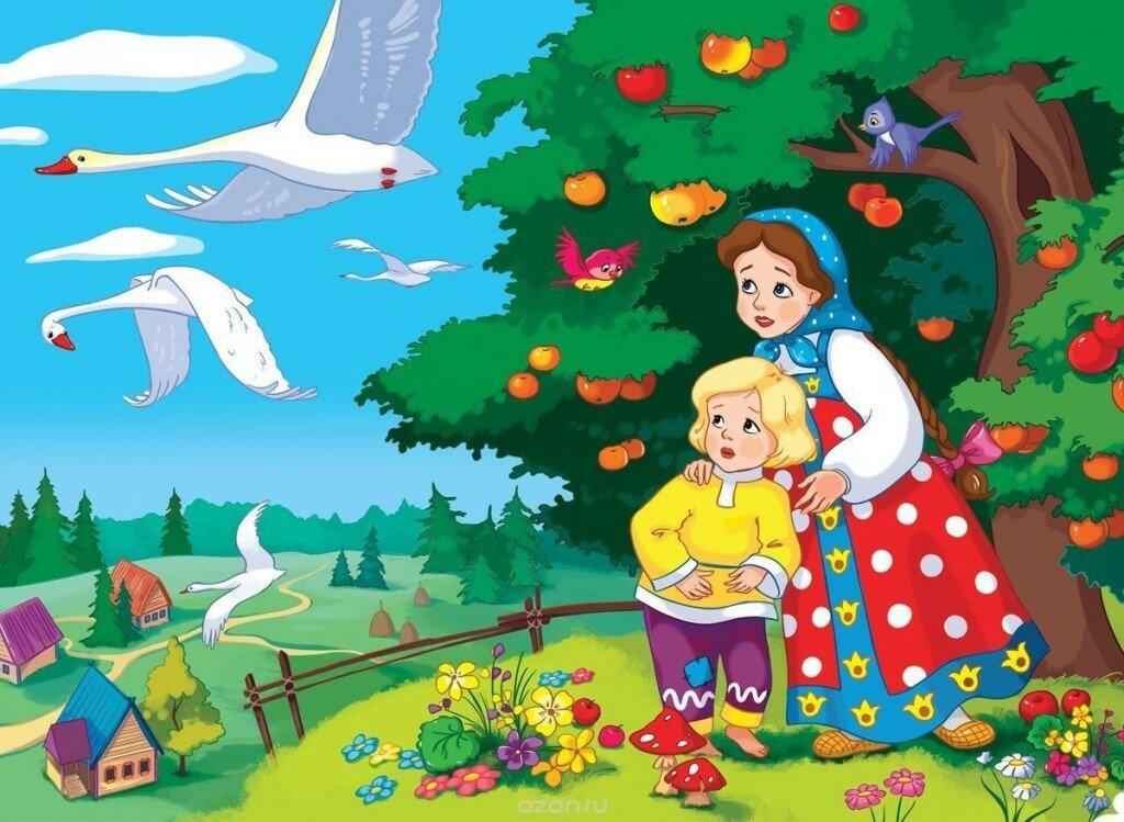 Гуси лебеди сказка картинки герои