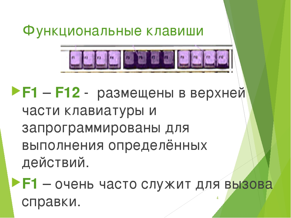 Функциональные клавиши F1 – F12 - размещены в верхней части клавиатуры и запр...