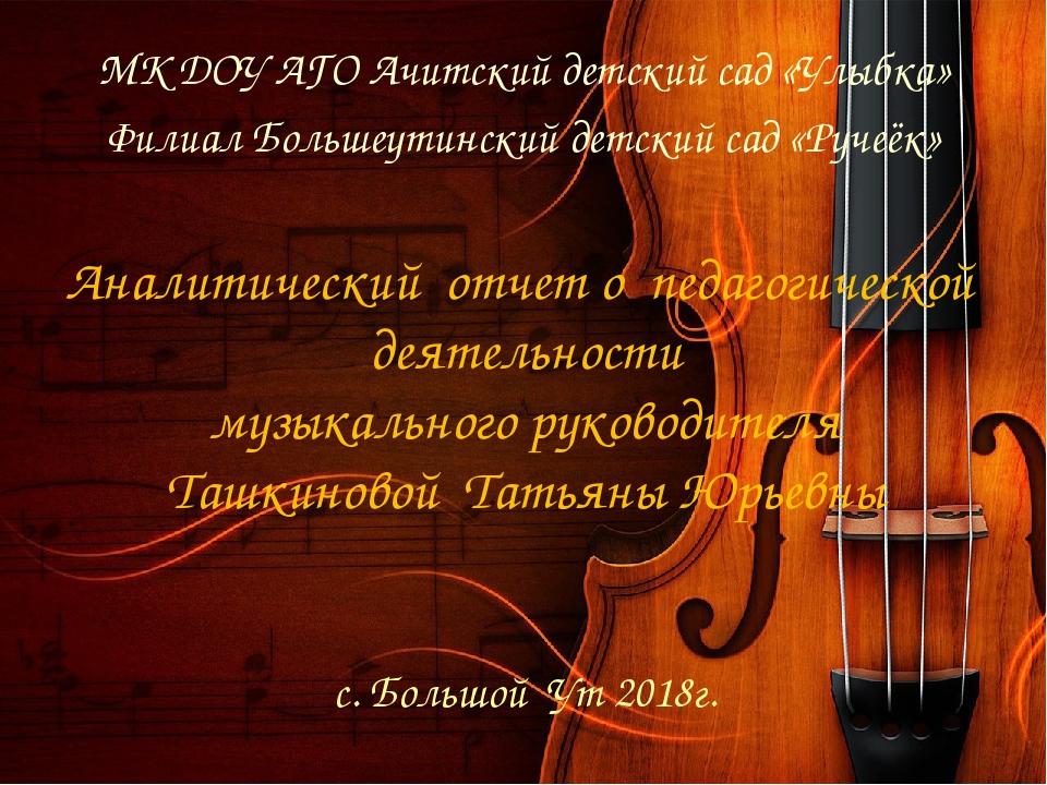 Аналитический отчет о педагогической деятельности музыкального руководителя Т...