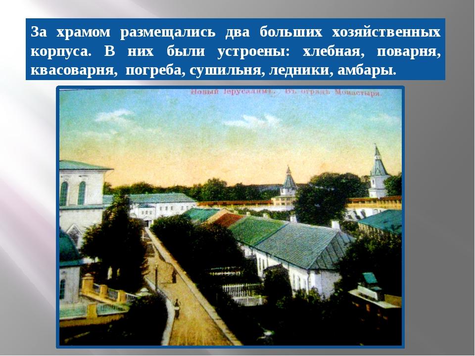 За храмом размещались два больших хозяйственных корпуса. В них были устроены:...