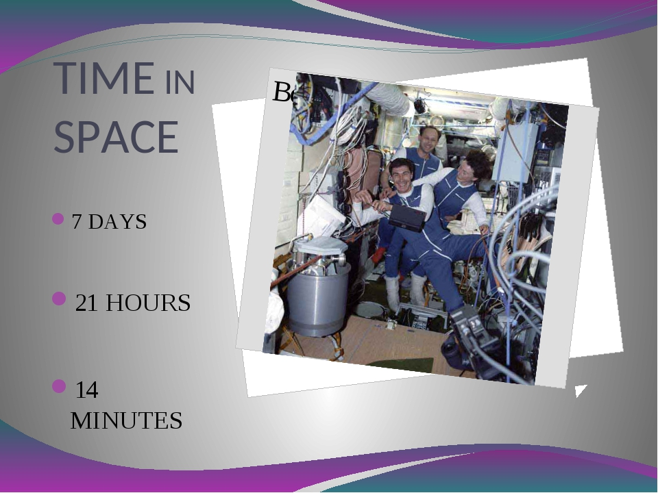 TIME IN SPACE 7 DAYS 21 HOURS 14 MINUTES