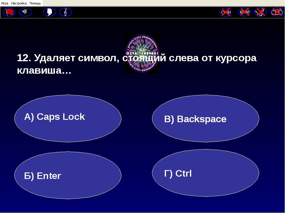 12. Удаляет символ, стоящий слева от курсора клавиша… А) Caps Lock Б) Enter...