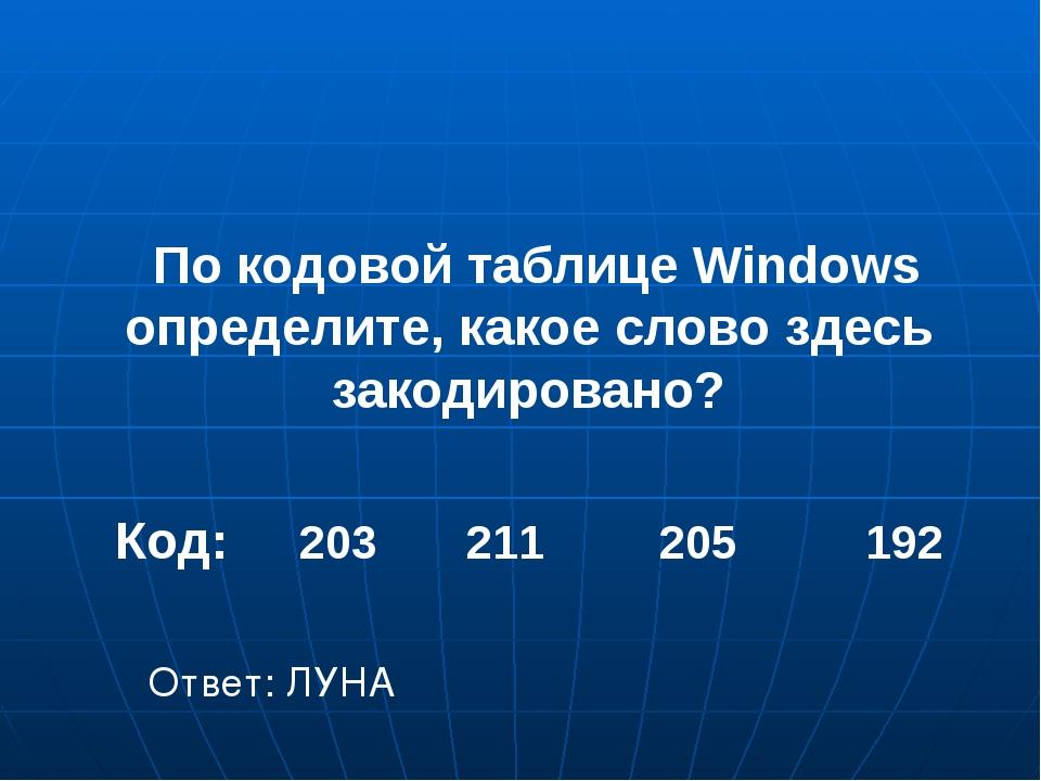 По кодовой таблице Windows определите, какое слово здесь закодировано? Код:...