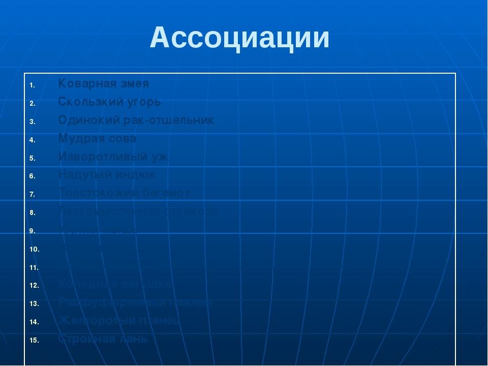 Ассоциации Коварнаязмея Скользкийугорь Одинокийрак-отшельник Мудраясова Извор...