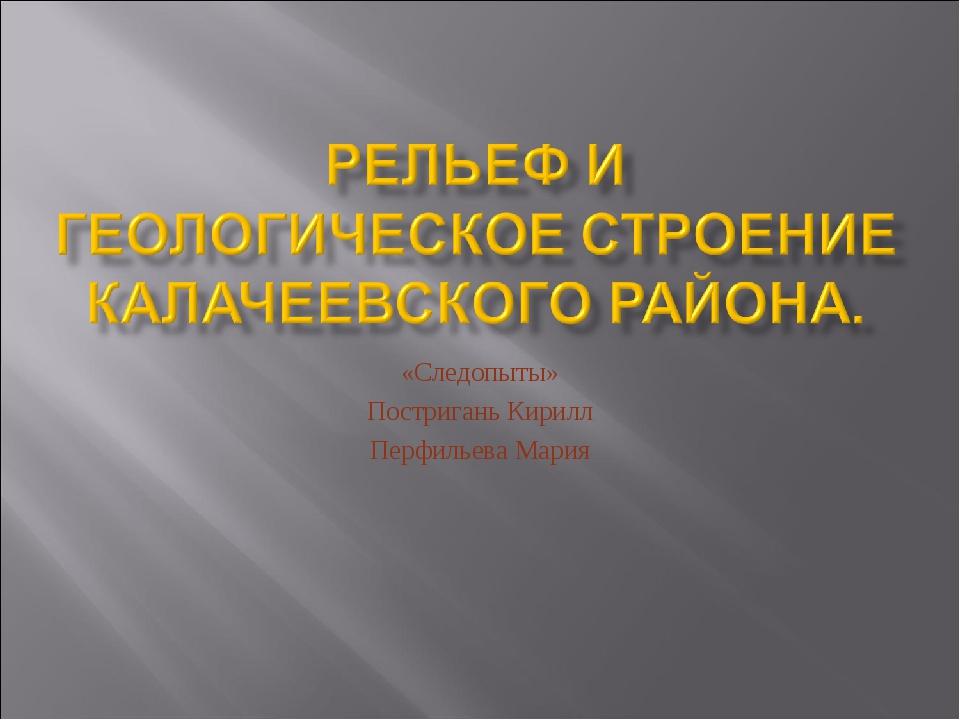 «Следопыты» Постригань Кирилл Перфильева Мария