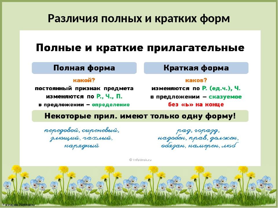 Различия полных и кратких форм FokinaLida.75@mail.ru