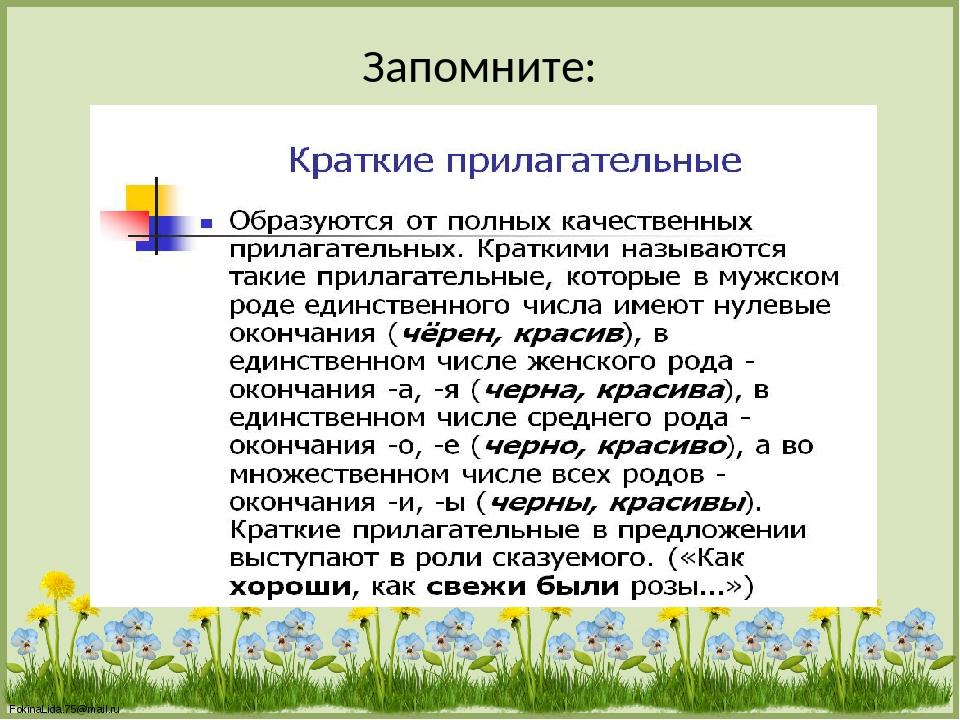 Запомните: FokinaLida.75@mail.ru