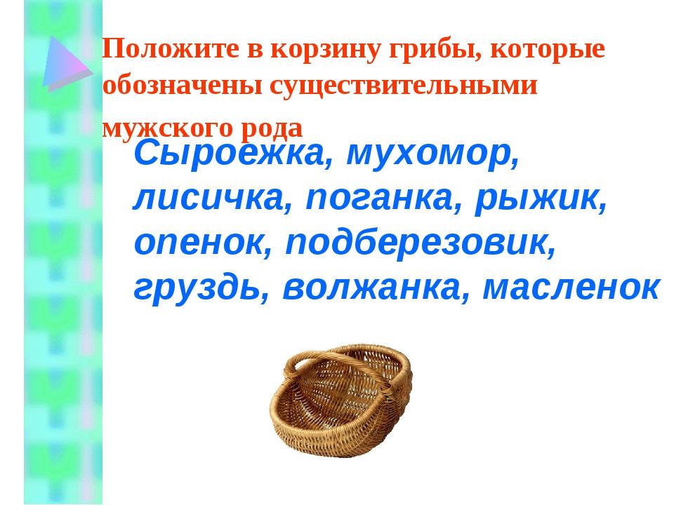 Положите в корзину грибы, которые обозначены существительными мужского рода...