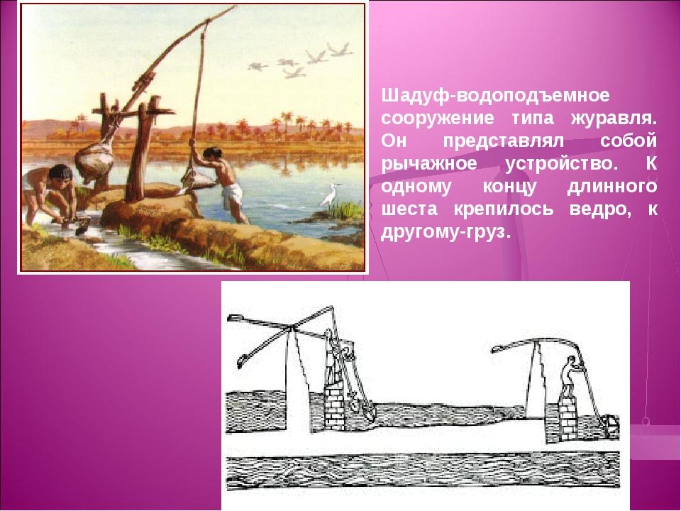 Шадуф-водоподъемное сооружение типа журавля. Он представлял собой рычажное ус...