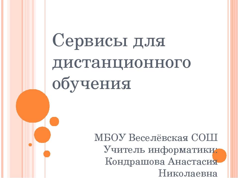 Сервисы для дистанционного обучения МБОУ Веселёвская СОШ Учитель информатики:...