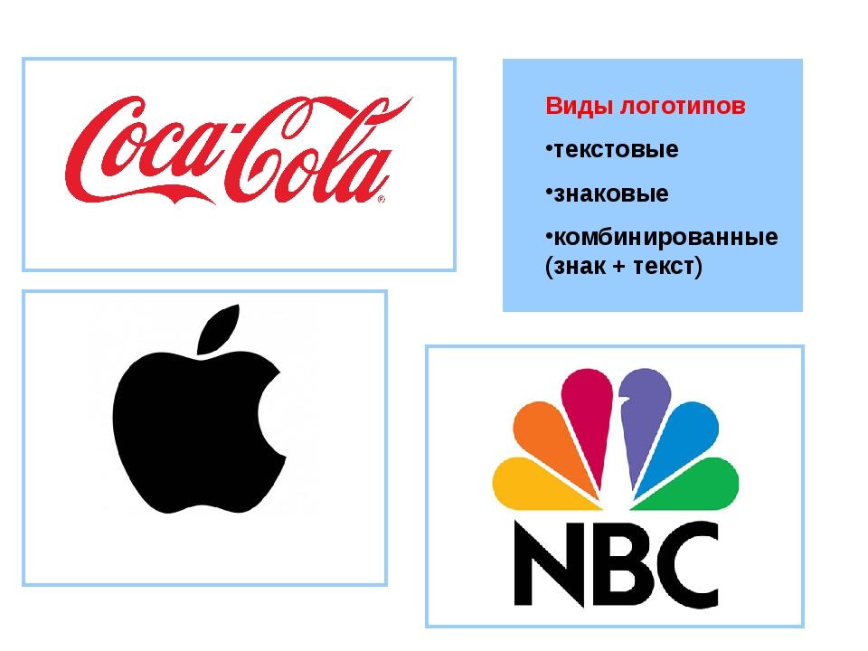 Виды логотипов текстовые знаковые комбинированные (знак + текст)
