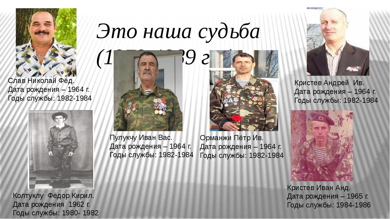 Это наша судьба (1979-1989 г.г.) Кристев Андрей Ив. Дата рождения – 1964 г. Г...