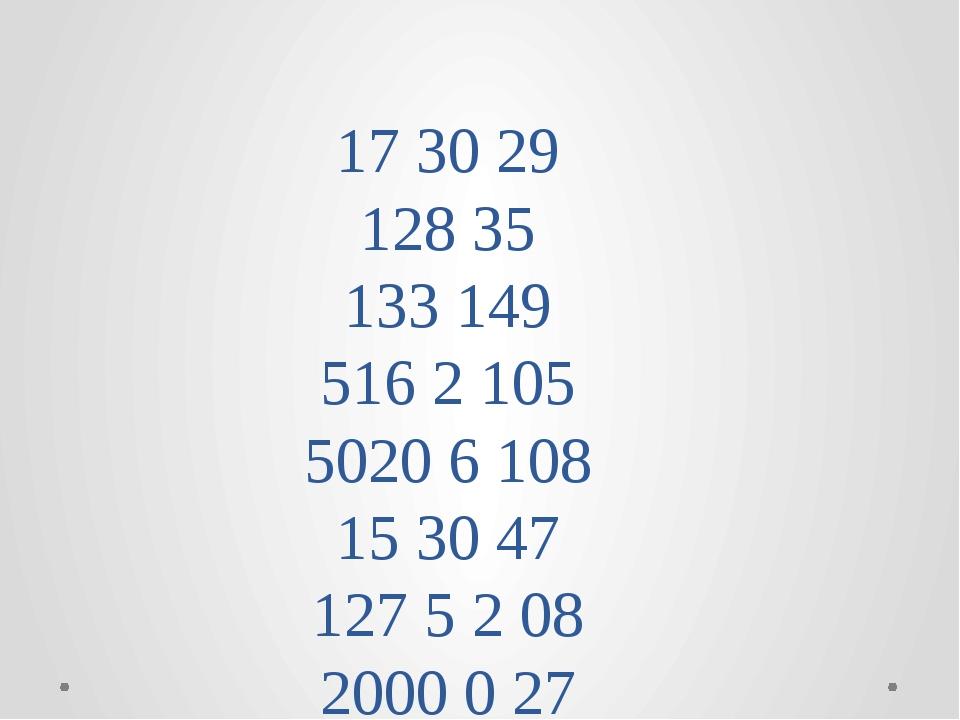 17 30 29 128 35 133 149 516 2 105 5020 6 108 15 30 47 127 5 2 08 2000 0 27
