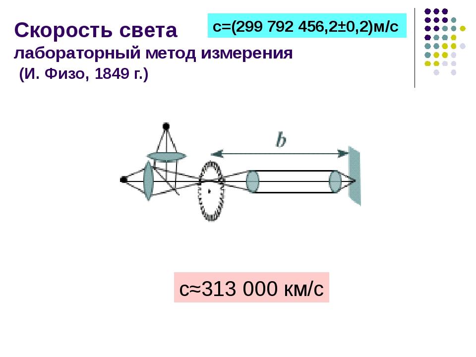 Скорость света лабораторный метод измерения (И. Физо, 1849 г.) с≈313 000 км/с...