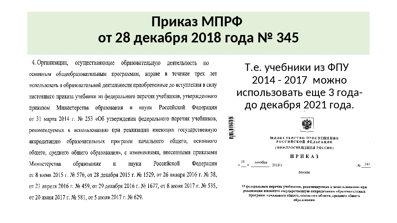 Приказ МПРФ от 28 декабря 2018 года № 345 Т.е. учебники из ФПУ 2014 - 2017 мо...