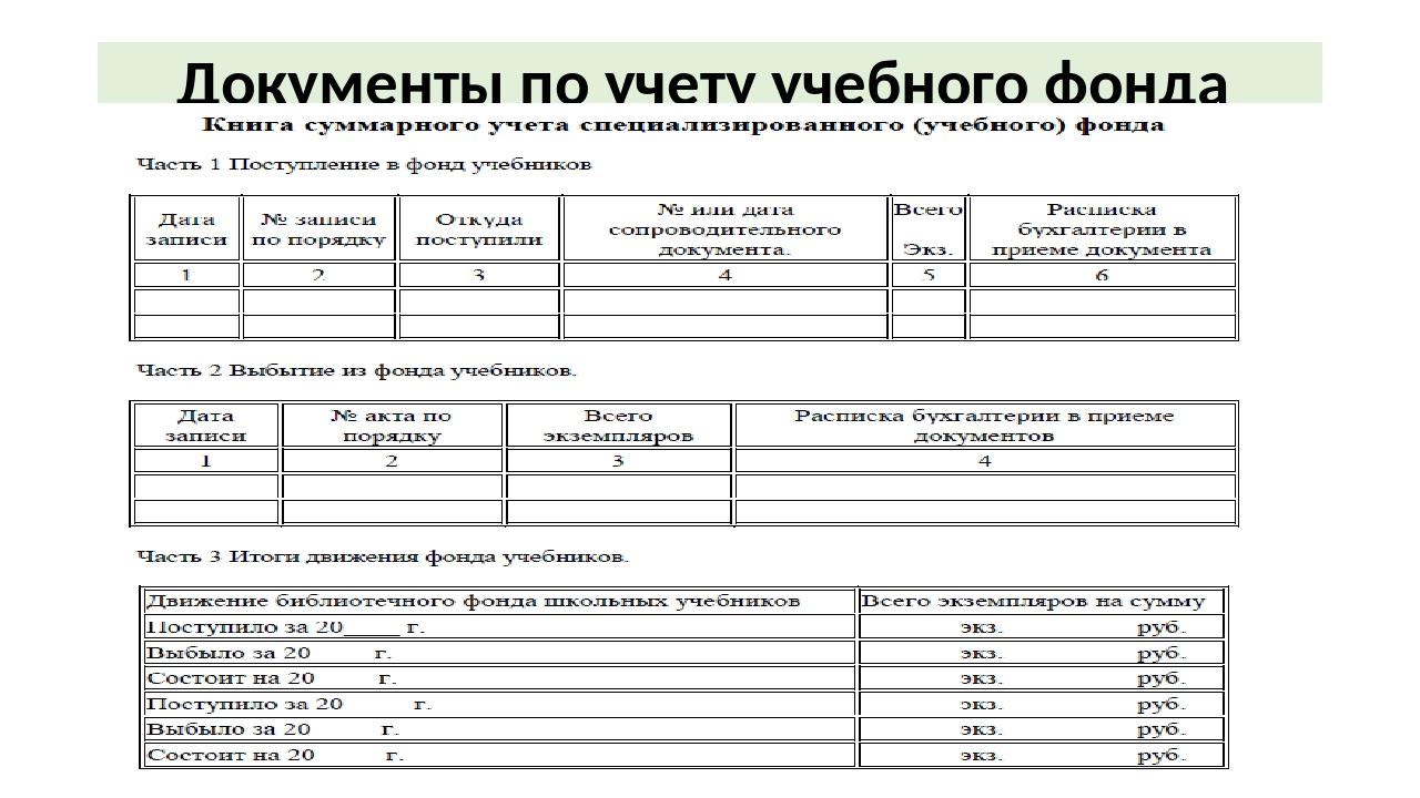 Документы по учету учебного фонда