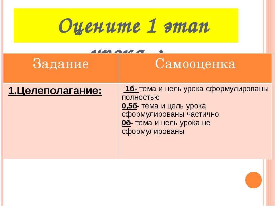 Оцените 1 этап урока : Задание Самооценка 1.Целеполагание: 1б-тема и цель ур...