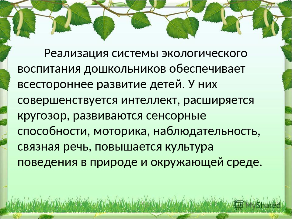 Реализация системы экологического воспитания дошкольников обеспечивает всест...