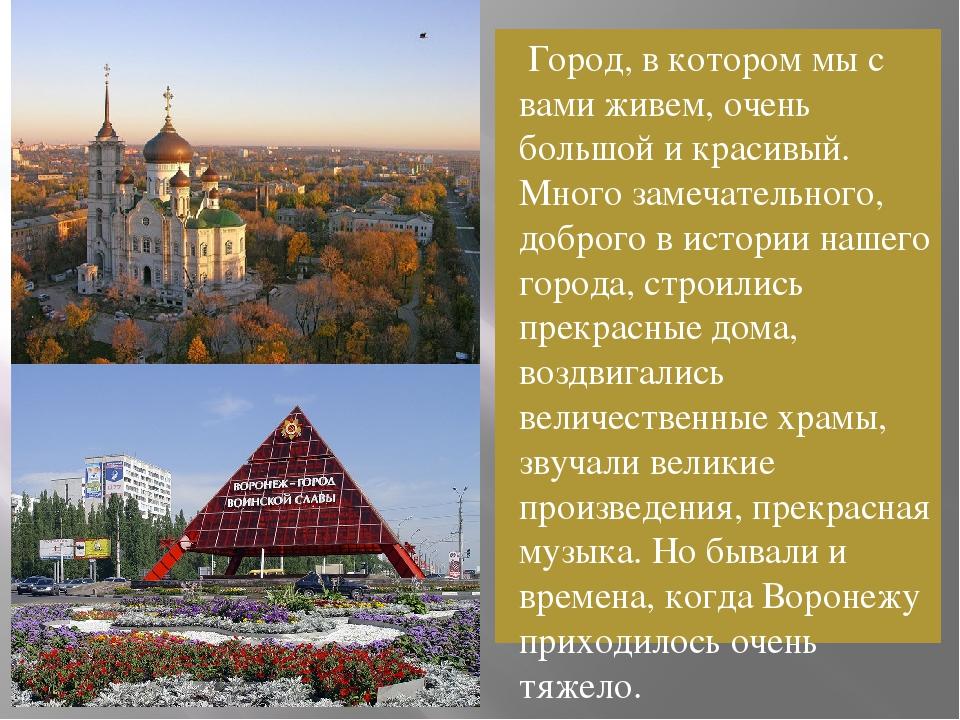 Город, в котором мы с вами живем, очень большой и красивый. Много замечатель...