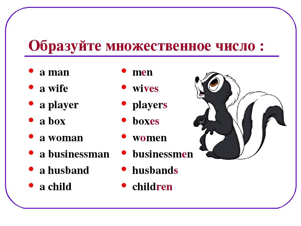 Образуйте множественное число : a man a wife a player a box a woman a busines...