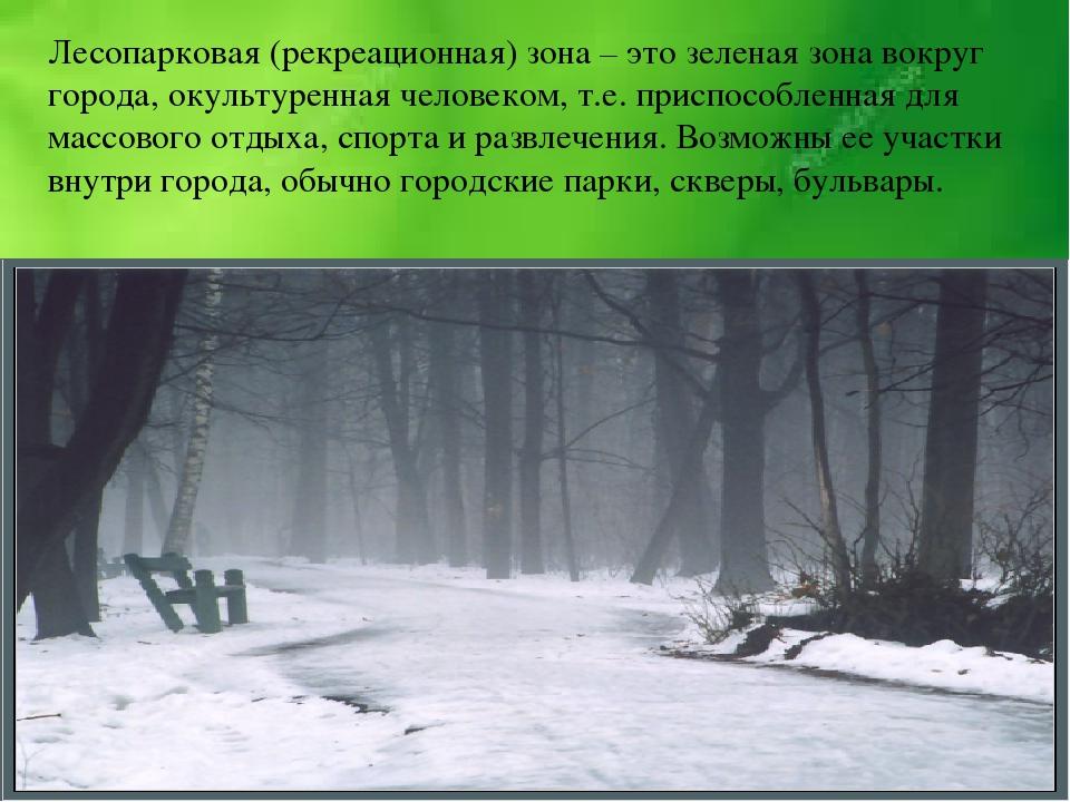 Лесопарковая (рекреационная) зона – это зеленая зона вокруг города, окультуре...