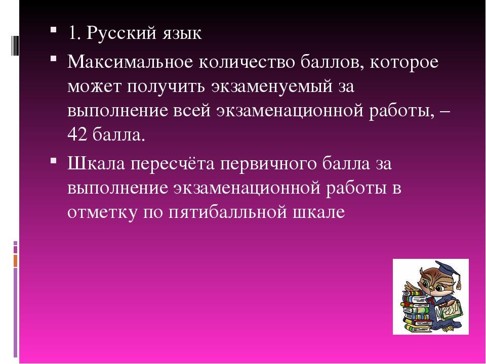 1. Русский язык Максимальное количество баллов, которое может получить экзаме...