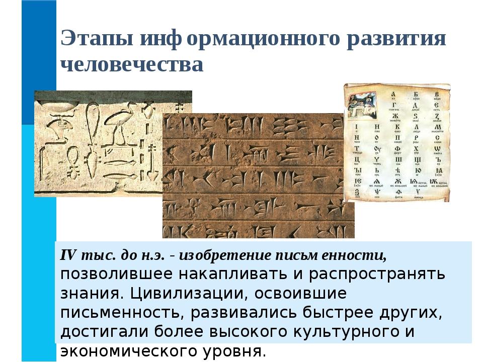 IV тыс. до н.э. - изобретение письменности, позволившее накапливать и распрос...