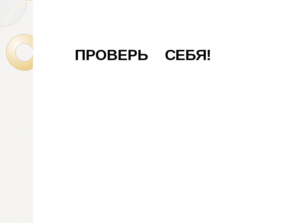 ПРОВЕРЬ СЕБЯ!