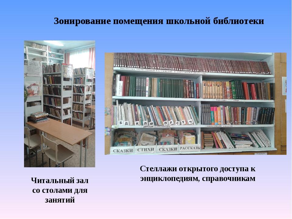 Читальный зал со столами для занятий Зонирование помещения школьной библиотек...