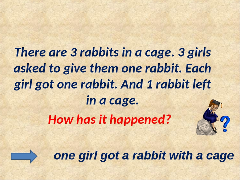 There are 3 rabbits in a cage. 3 girls asked to give them one rabbit. Each g...