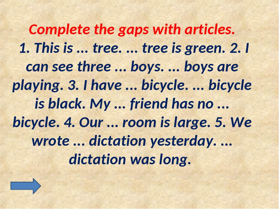 Complete the gaps with articles. 1. This is ... tree. ... tree is green. 2. I...