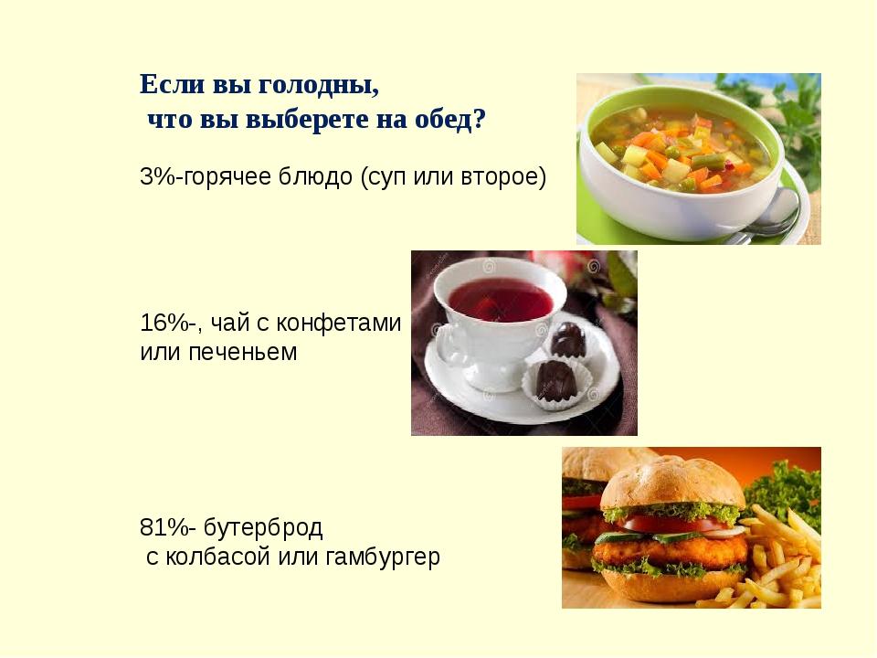 Если вы голодны, что вы выберете на обед? 3%-горячее блюдо (суп или второе) 1...