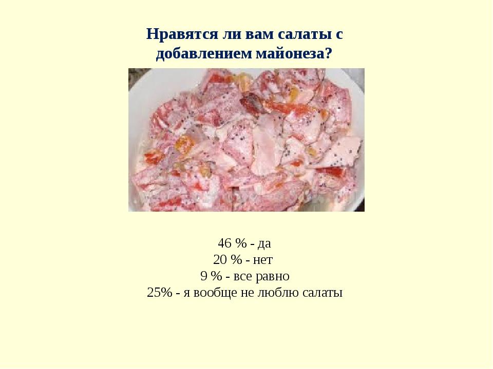 Нравятся ли вам салаты с добавлением майонеза? 46 % - да 20 % - нет 9 % - все...
