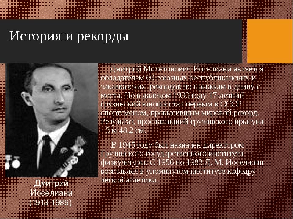 История и рекорды Дмитрий Милетонович Иоселиани является обладателем 60 союзн...