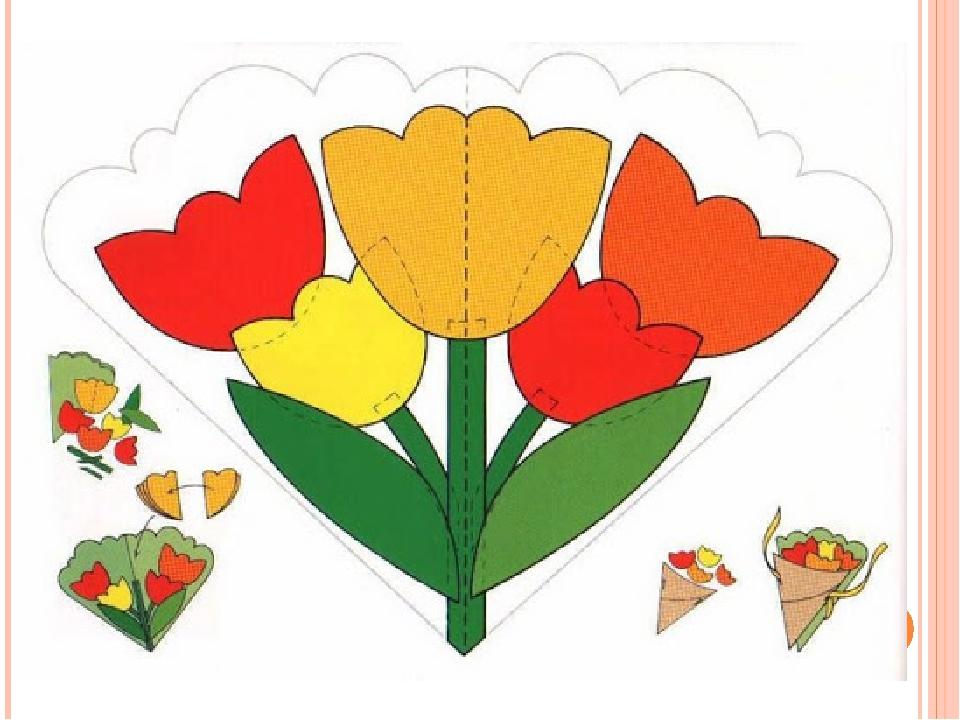 Шаблоны открытки к 8 марта своими руками в детском саду