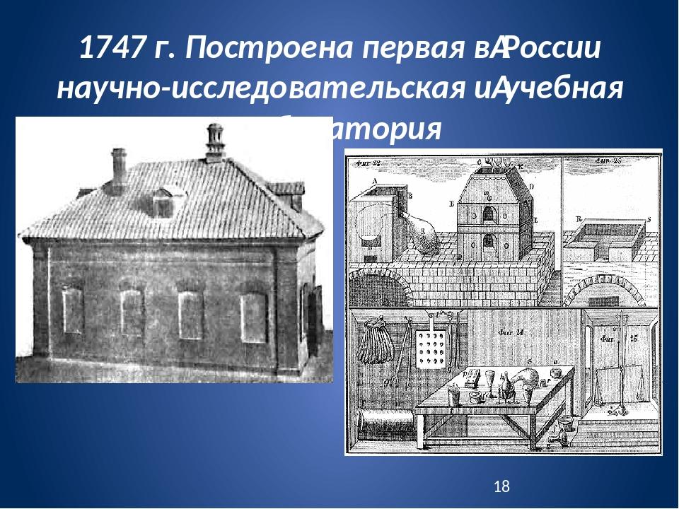 1747 г. Построена первая вРоссии научно-исследовательская иучебная лаборато...
