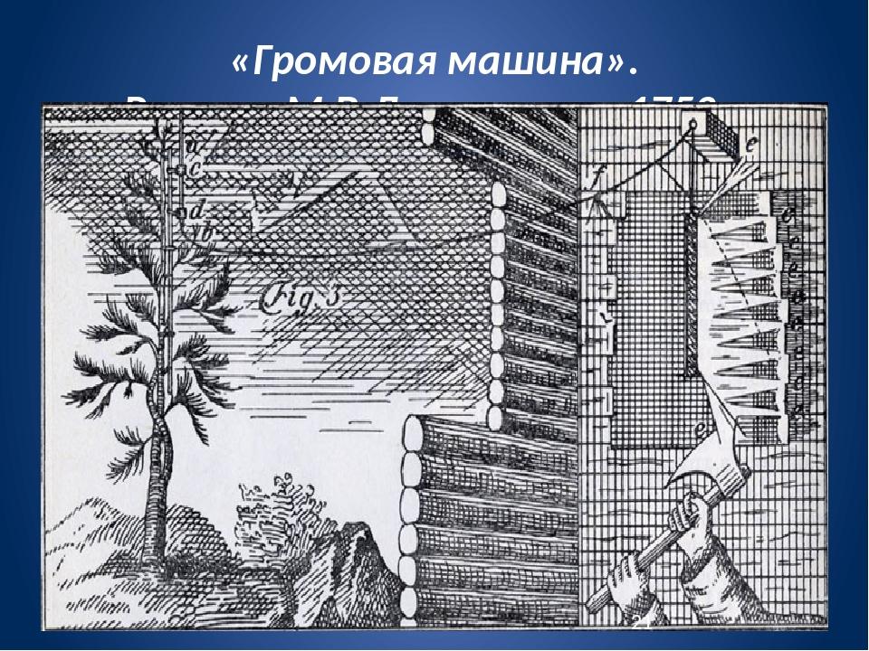 «Громовая машина». Рисунок М.В.Ломоносова. 1753 г.