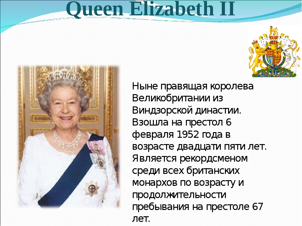 Queen Elizabeth II Ныне правящая королева Великобритании из Виндзорской динас...