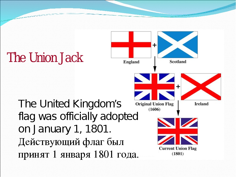 The United Kingdom's flag was officially adopted on January 1, 1801. Действую...