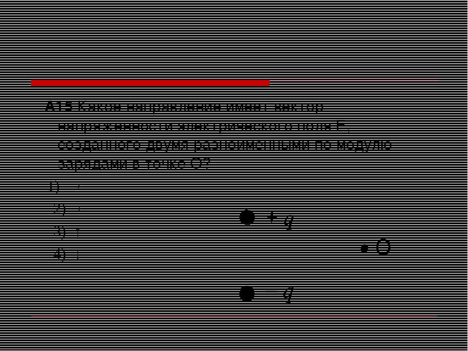 А15 Какое направление имеет вектор напряженности электрического поля Е, созд...