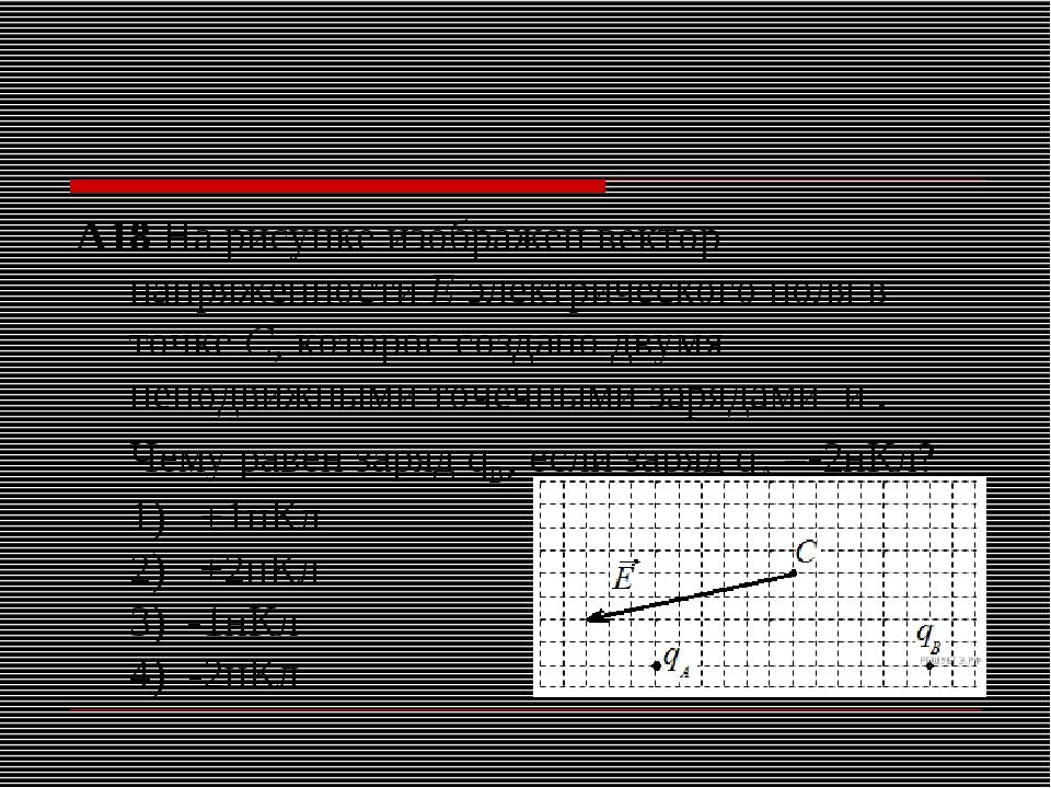 A18На рисунке изображен вектор напряженностиЕэлектрического поля в точкеС...