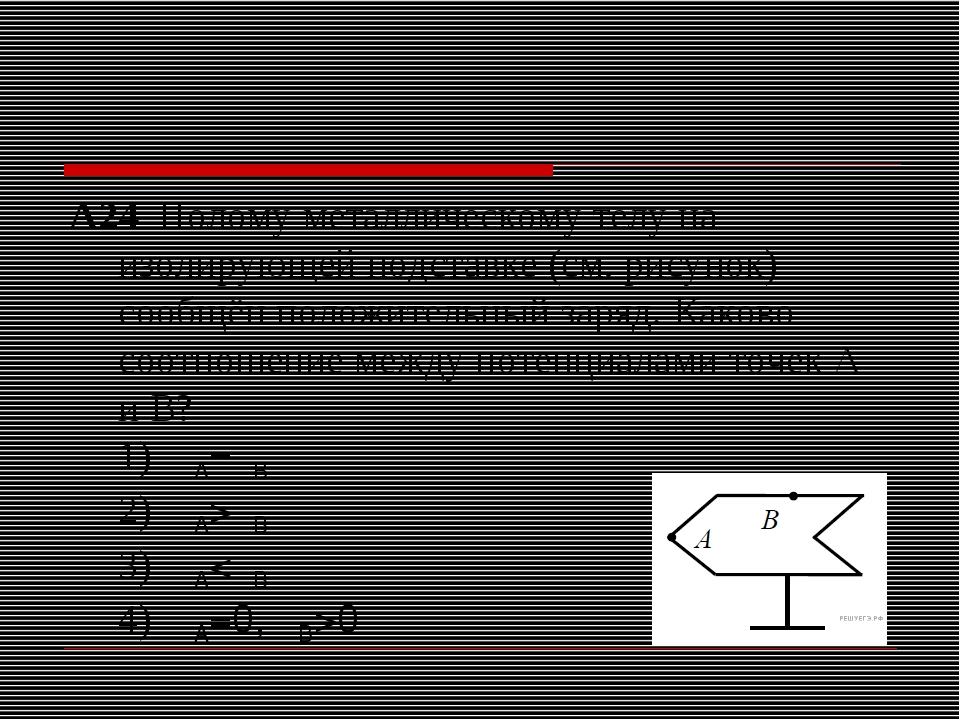 А24 Полому металлическому телу на изолирующей подставке (см. рисунок) сообщё...