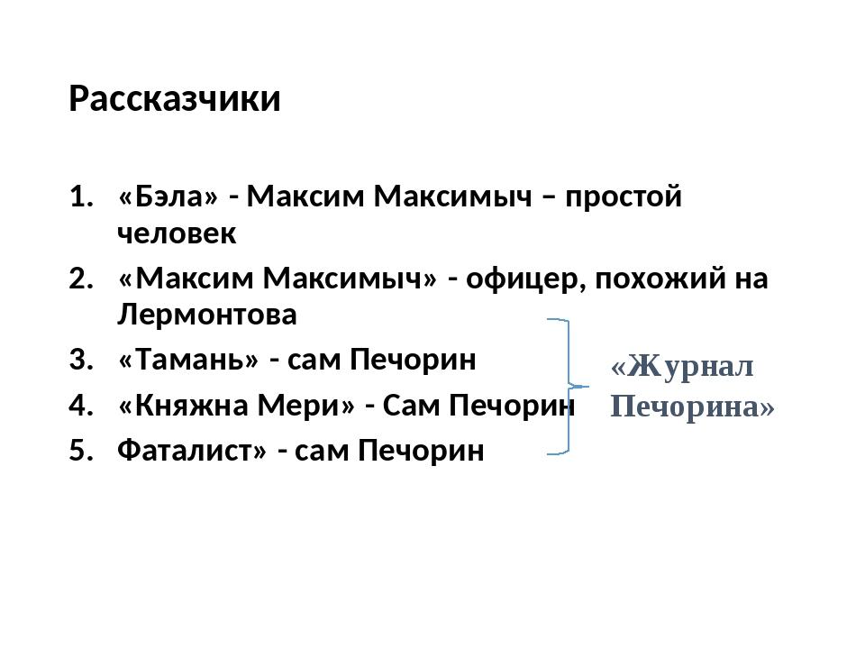 Рассказчики «Бэла» - Максим Максимыч – простой человек «Максим Максимыч» - оф...