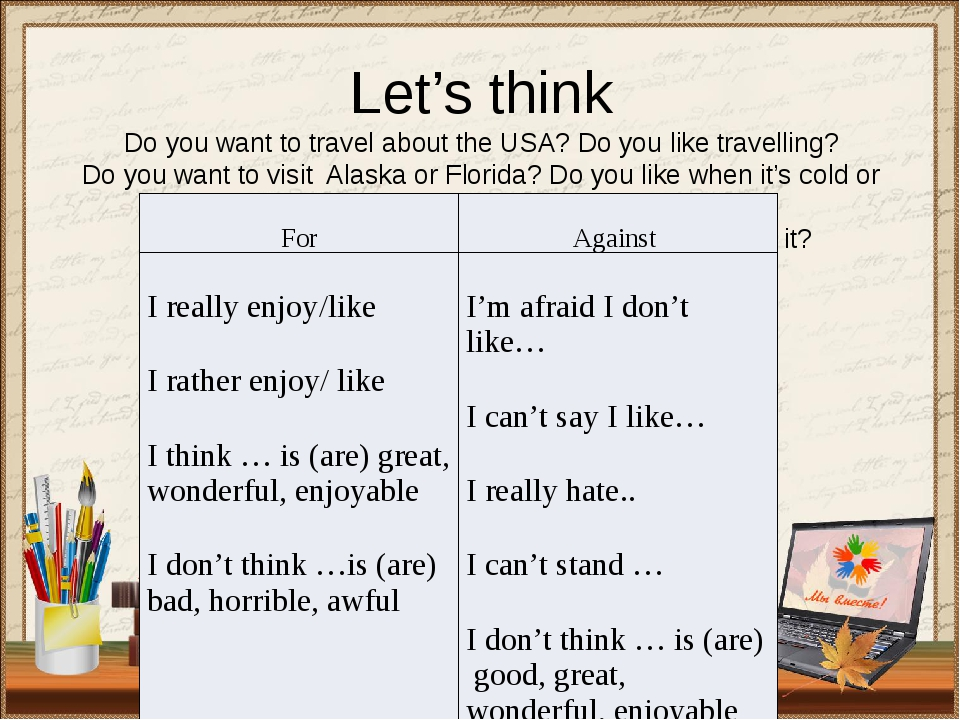 Let's think Do you want to travel about the USA? Do you like travelling? Do y...