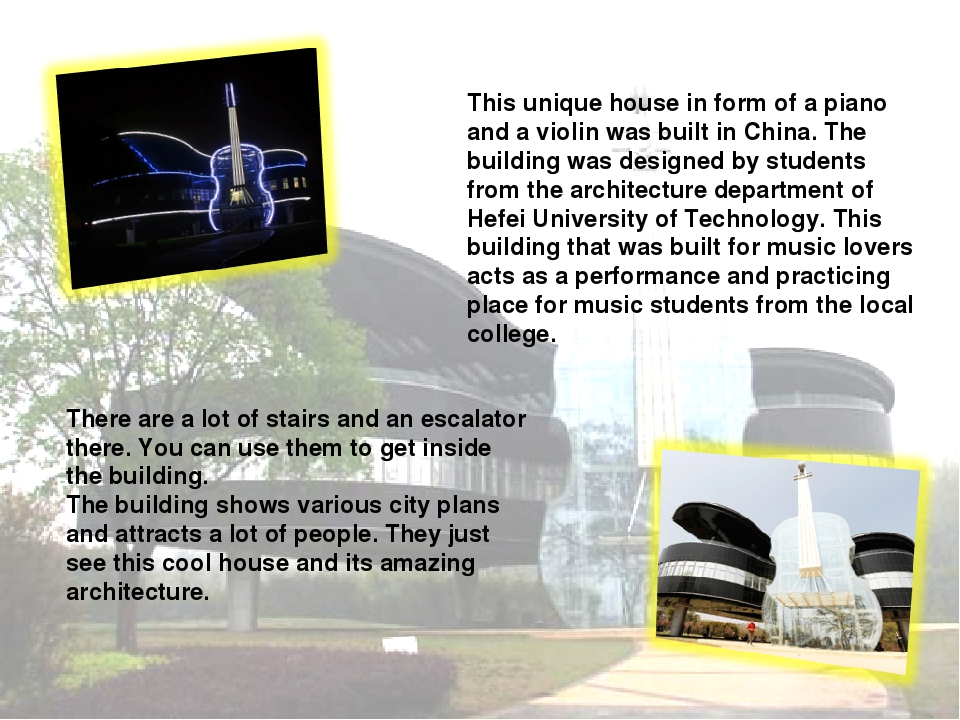 This unique house in form of a piano and a violin was built in China. The bui...