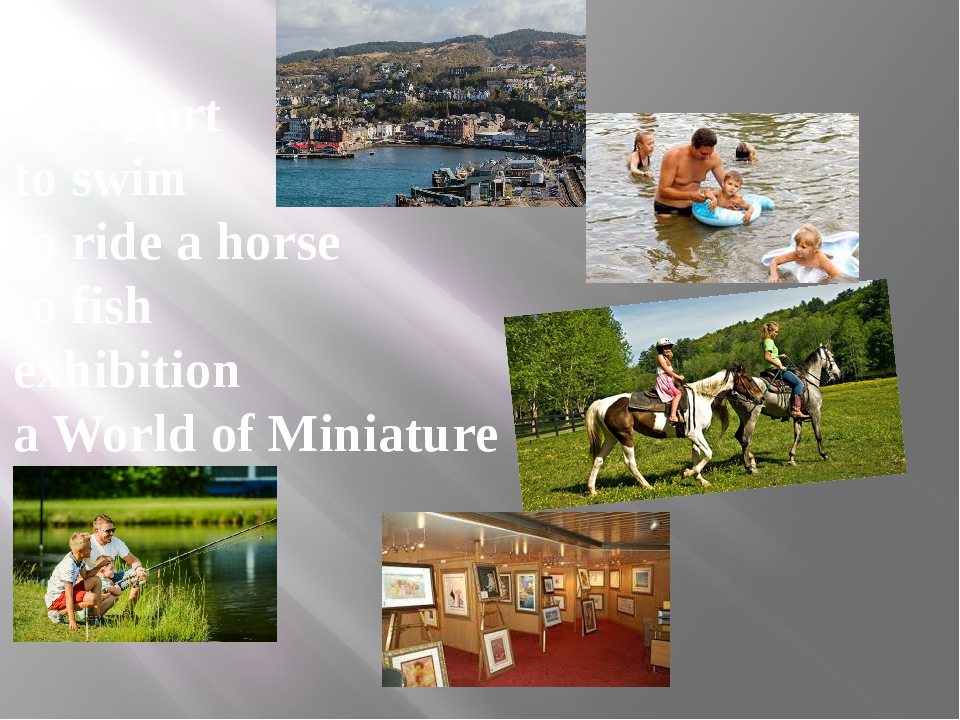 a seaport to swim to ride a horse to fish exhibition a World of Miniature