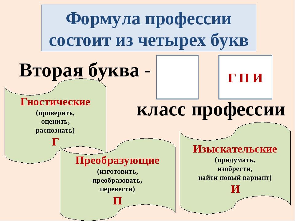 Формула профессии состоит из четырех букв Вторая буква - класс профессии Гнос...